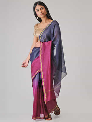 Blue-Pink Ombre-dyed Chanderi Saree with Zari Border