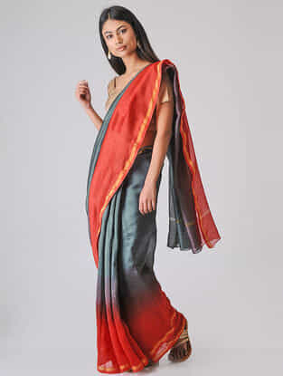 Grey-Red Ombre-dyed Chanderi Saree with Zari Border