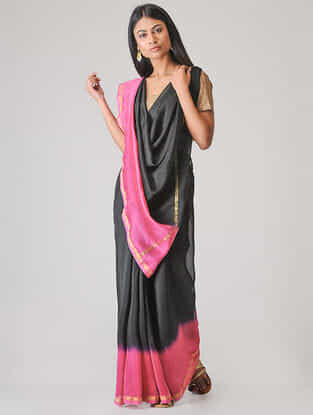 Black-Pink Ombre-dyed Chanderi Saree with Zari Border
