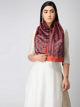 Red-Ivory Ikat Silk Stole