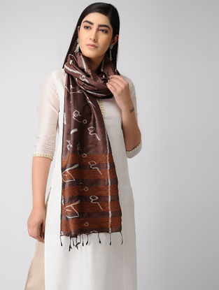 Maroon-Ivory Hand-embroidered Ikat Silk Stole