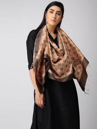 Orange-Maroon Natural-dyed Ikat Silk Stole