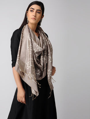 Grey-Ivory Natural-dyed Ikat Silk Stole