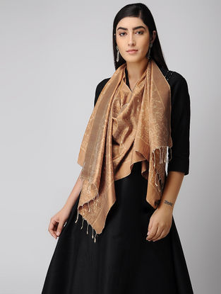 Brown-Ivory Natural-dyed Ikat Silk Stole