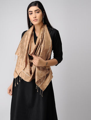 Beige-Ivory Natural-dyed Ikat Silk Stole