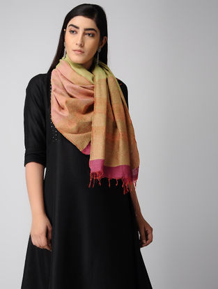 Pink-Green Hand-embroidered Ikat Silk Stole
