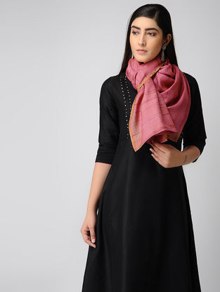 Pink-Beige Hand-embroidered Ikat Silk Stole