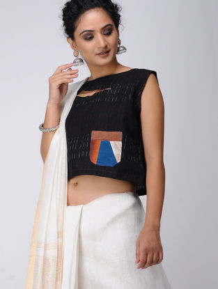 Black-Blue Recycled Cotton Blouse