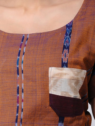 Brown-Blue Recycled Cotton Blouse