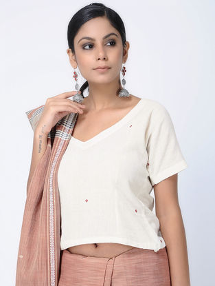 Ivory-Red Natural-dyed Kotpad Cotton Blouse