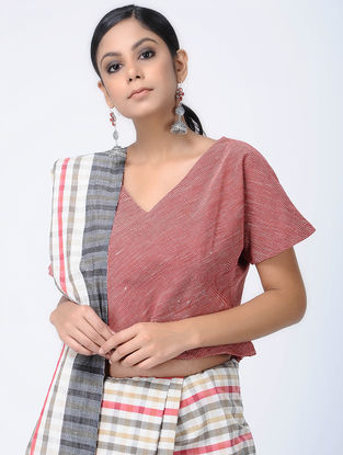 Red-Ivory Natural-dyed Malkha Blouse