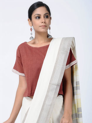 Red-Ivory Natural-dyed Kotpad Cotton Blouse