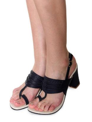 Dark Blue Handcrafted Kolhapuri Heels
