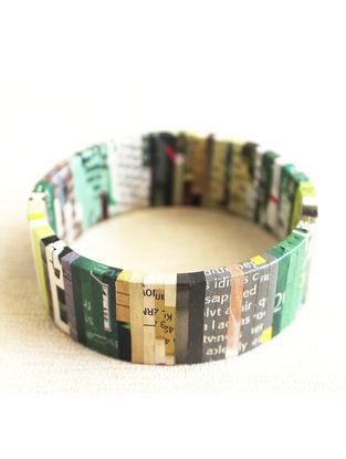 Green-White Newspaper Bracelet