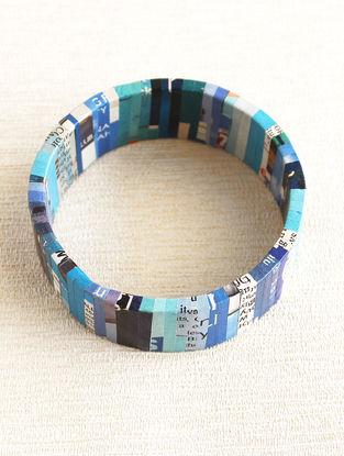 Blue-White Newspaper Bracelet