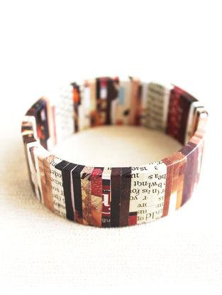 Brown-White Newspaper Bracelet