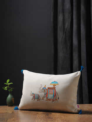 White-Multicolored Embroidered Cotton Linen Cushion Cover with Tassels (18in x 12in)