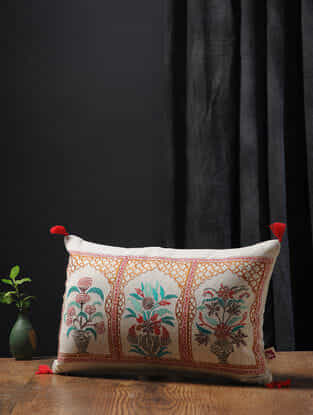 Off White-Multicolored Embroidered Cotton Linen Cushion Cover with Tassels (19in x 12in)