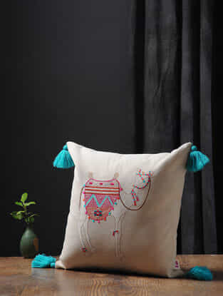 Off White-Multicolored Embroidered Cotton Linen Cushion Cover with Tassels (16in x 16in)