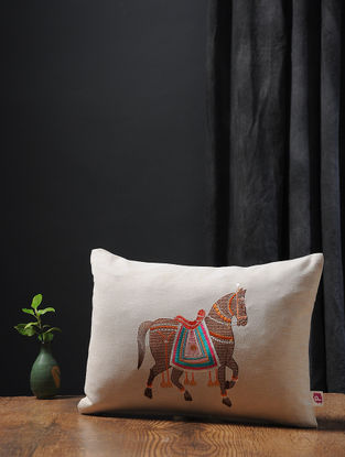 Off White-Multicolored Embroidered Cotton Linen Cushion Cover with Horse Motif (18in x 15in)