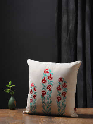 Off White-Multicolored Embroidered Cotton Linen Cushion Cover (16in x 16in)