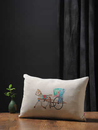 Off White-Multicolored Embroidered Cotton Linen Cushion Cover (18in x 12in)