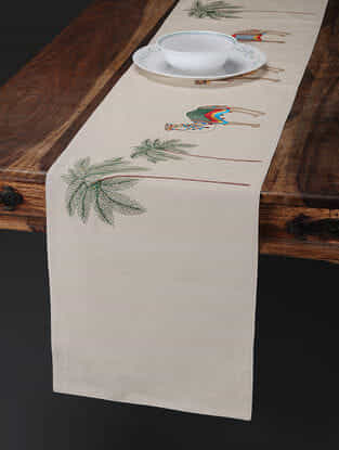 Off White-Multicolored Embroidered Cotton Linen Table Runner with Camel Motif (70in x 13in)