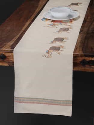 Off White-Multicolored Embroidered Cotton Linen Table Runner with Elephant Motif (71in x 13in)
