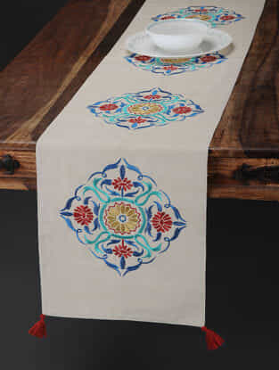 Off White-Multicolored Embroidered Cotton Linen Table Runner with Tassels (71in x 13in)