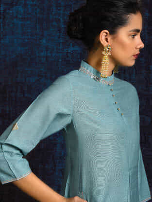 Blue Pleated Handloom Silk Kurta with Hand Embroidery