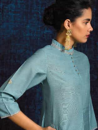 Blue Pleated Handloom Silk Kurta with Hand Embroidery