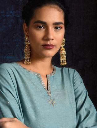 Blue Handloom Silk Kurta with Hand Embroidery