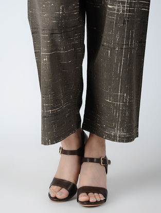 Grey Elasticated-waist Ajrakh Pants
