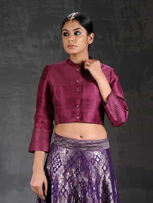 Wine Quilted Silk Blouse