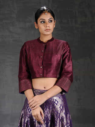 Maroon Quilted Silk Blouse