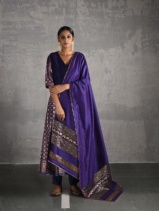 Purple Chanderi Dupatta with Brocade