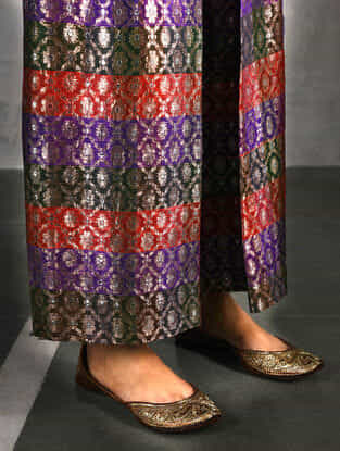 Multicolor Vintage Benarasi Silk Brocade Pants