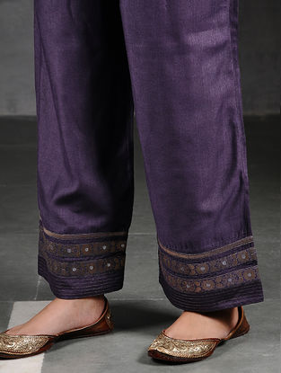 Purple Silk Cotton Pants with Brocade