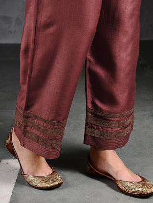 Maroon Silk Cotton Pants with Brocade