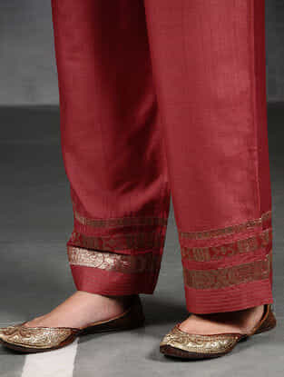 Orange Silk Cotton Pants with Brocade