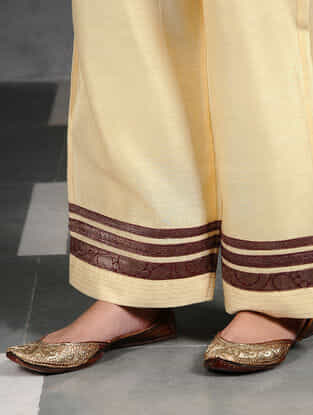 Ivory Silk Cotton Pants with Brocade