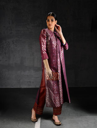Pink Vintage Benarasi Silk Brocade Pleated Kurta with Pockets