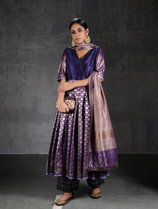 Purple Vintage Benarasi Silk Brocade Pleated Kurta with Pockets