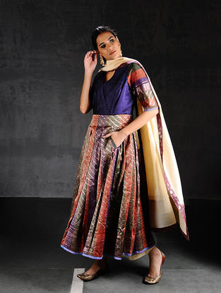 Multicolor Vintage Benarasi Silk Brocade Pleated Kurta with Pockets
