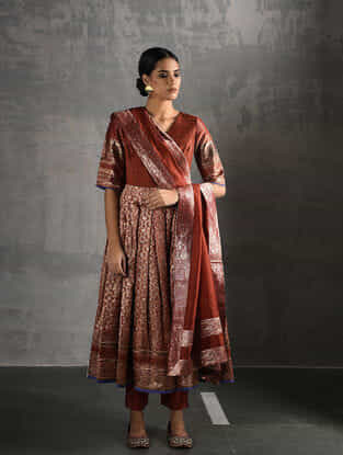 Rust Vintage Benarasi Silk Brocade Pleated Kurta with Pockets