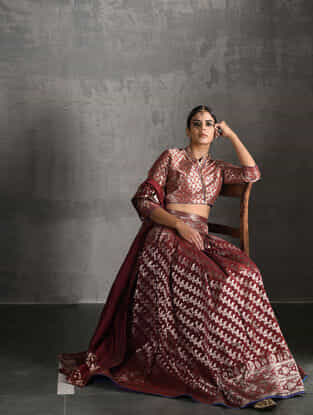 Maroon Vintage Benarasi Silk Brocade Lehenga with Pockets