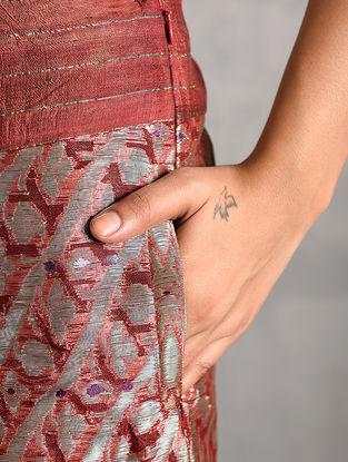 Maroon Vintage Benarasi Silk Brocade Pants