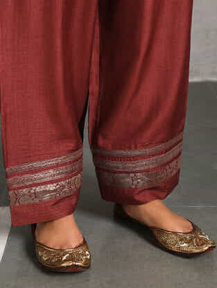 Maroon Silk Cotton Pants with Brocade