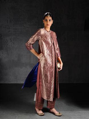 Maroon Vintage Benarasi Silk Brocade Pleated Kurta with Pockets