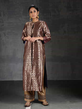 Maroon Vintage Benarasi Silk Brocade Pleated Kurta with Pockets